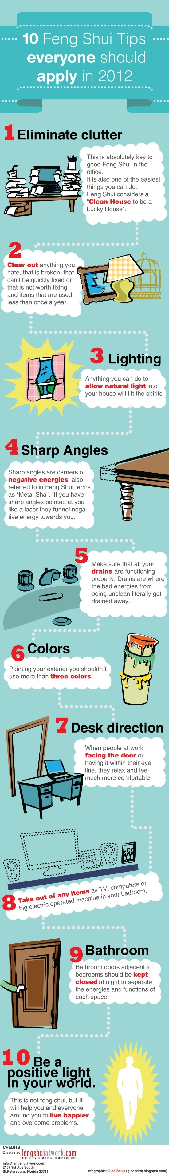 Fresh on IGM > Feng Shui Tips 2012: Let positive energy to flood your space by following these 10 simple Feng Shui tips. Its time to deal with the clutter and make spirits lift.  > http://infographicsmania.com/feng-shui-tips-2012/