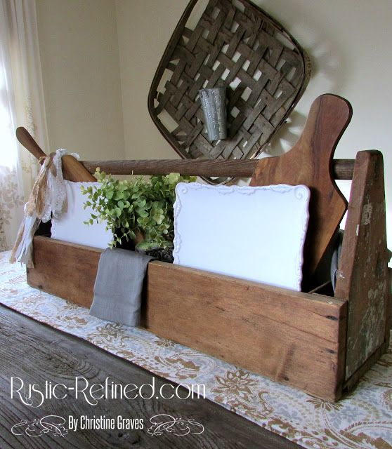 Setting a farmhouse or rustic style centerpiece for the dining or kitchen table