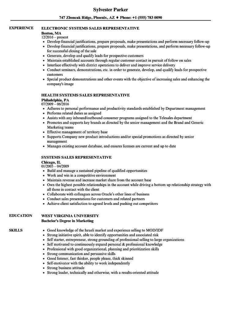 Unique Systems Sales Representative Resume Samples in 2020