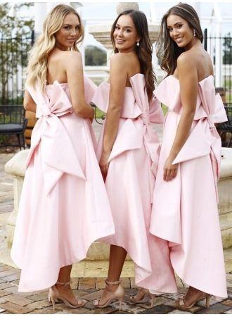 f449fbf0622 Fashion Pink Bow Strapless Bridesmaid Dress