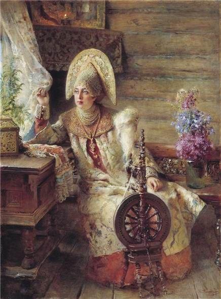 К. Маковский. Боярышня у окна с прялкой, 1890-е