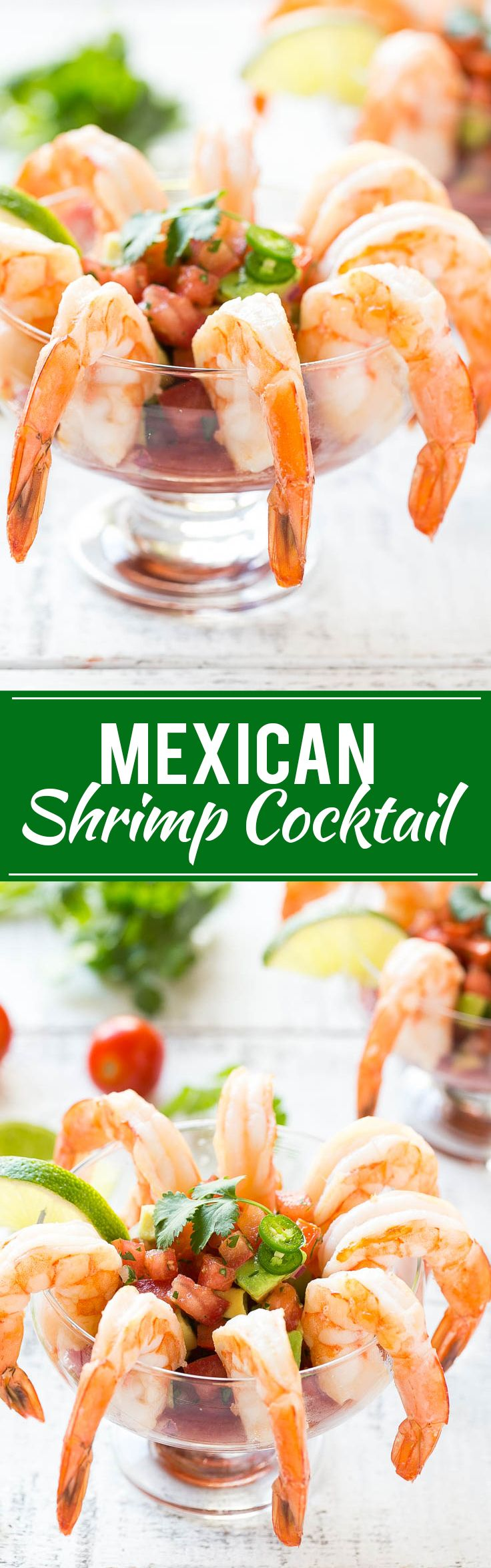 Mexican Shrimp Cocktail (coctel de camarones) - Fresh shrimp served with a zesty cocktail sauce and a refreshing tomato avocado relish.