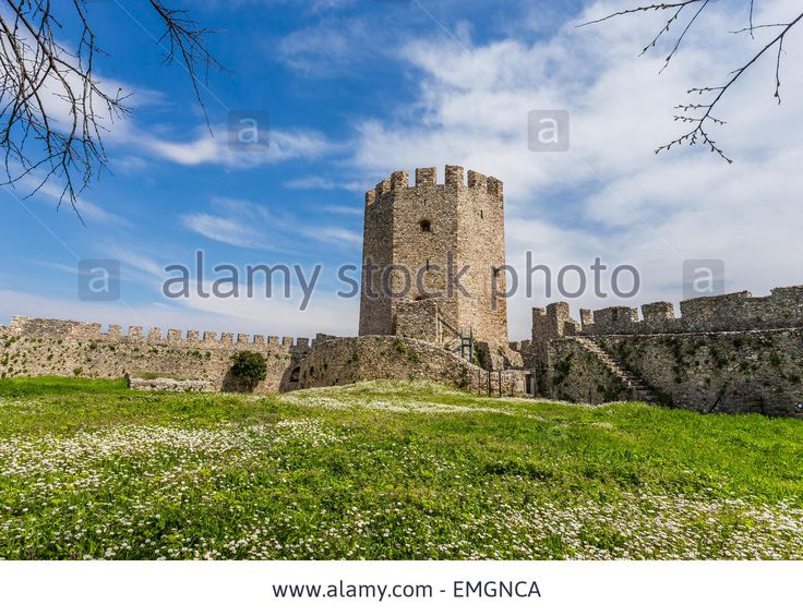 Platamon fortress against dramatic sky Stock Photo