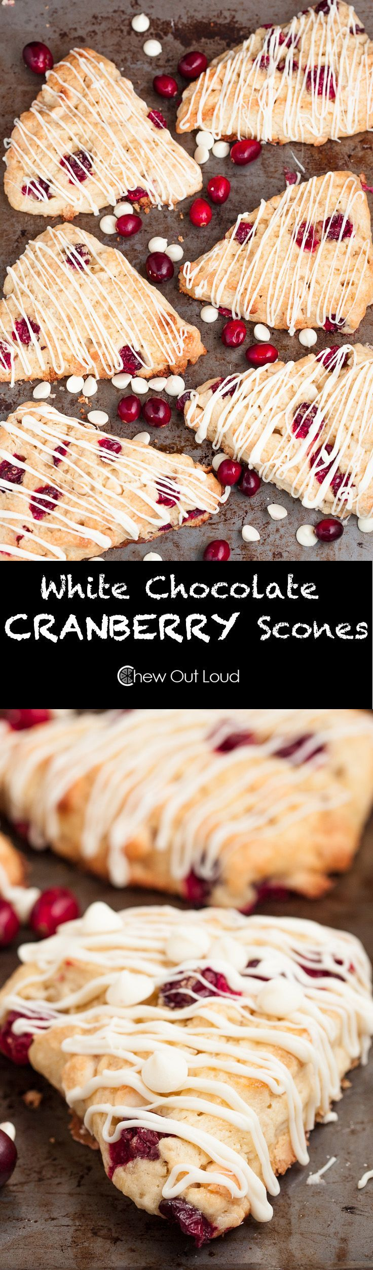 White Chocolate Cranberry Scones Recipe - With FRESH cranberries!  Moist and super festive for the holidays.  Christmas breakfast, brunch, or gifts.