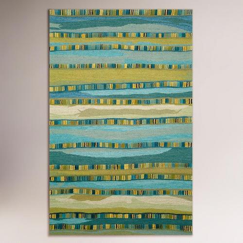 Mosaic Stripe Blue Wool Tufted Rug
