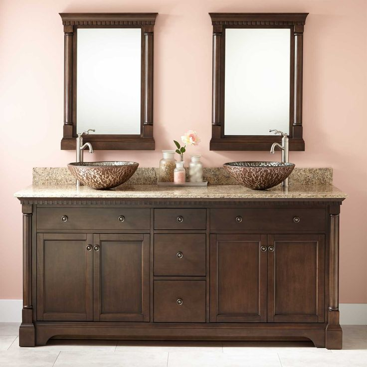 72 Claudia Double Vessel Sink Vanity Antique Coffee Bathroom Vanities Bathroom