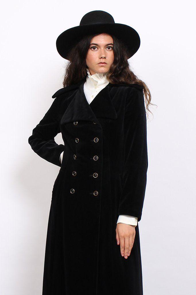 Vintage 70s Black Velvet Double Breasted Gothic Maxi Coat