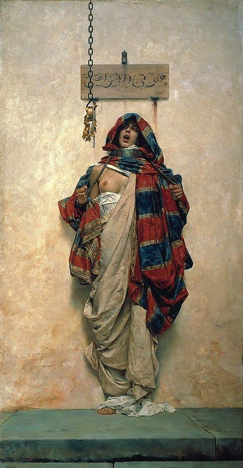 La ladrona, óleo sobre lienzo, 230 x 138 cm., Antonio Fabrés Costa, apox. 1900. Museo Casa de los Tiros, Granada.