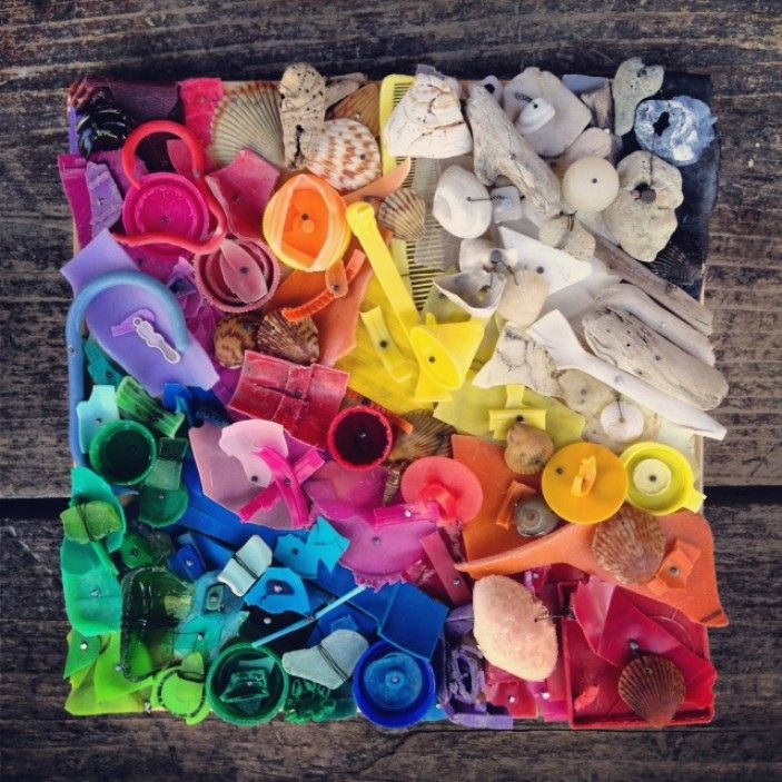 Earth Day art project - have your kids gather broken toy pieces, arrange by color & glue to a canvas in any design they choose!
