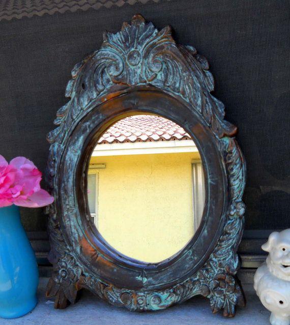 Wood carved Mirror  Bronze Tarnished Finish by CaribbeanStyleDecor, $65.00 @Megan Ward Herak Masters