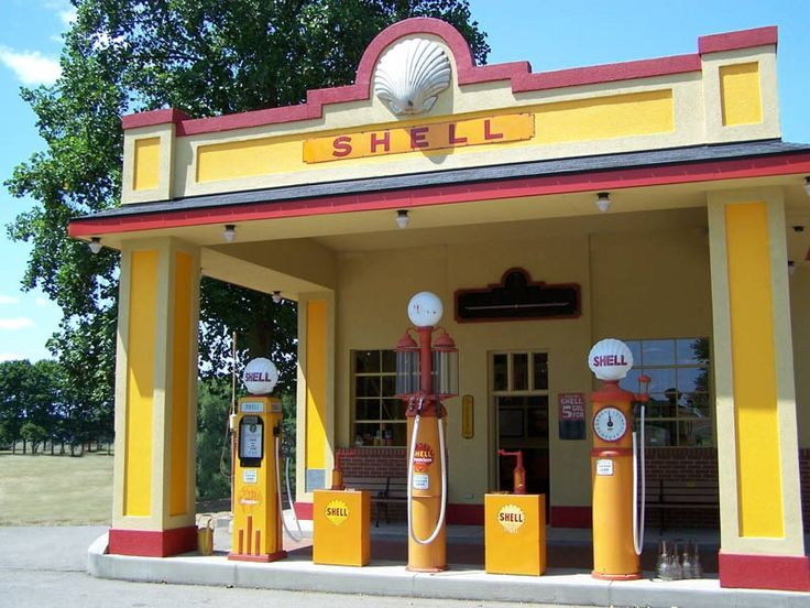 Old Gas Station - American Shell Station - GS444  Lovingly refurbished/reproduced by the Scottsdale Art Factory