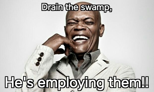 "At this point I think ""drain the swamp"" just meant he was going to get rid of all of Obama's people."