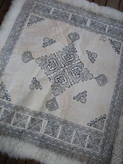 This is a block-printed sheepskin blanket. Awesome. YARN JUNGLE: Sheepskin blanket