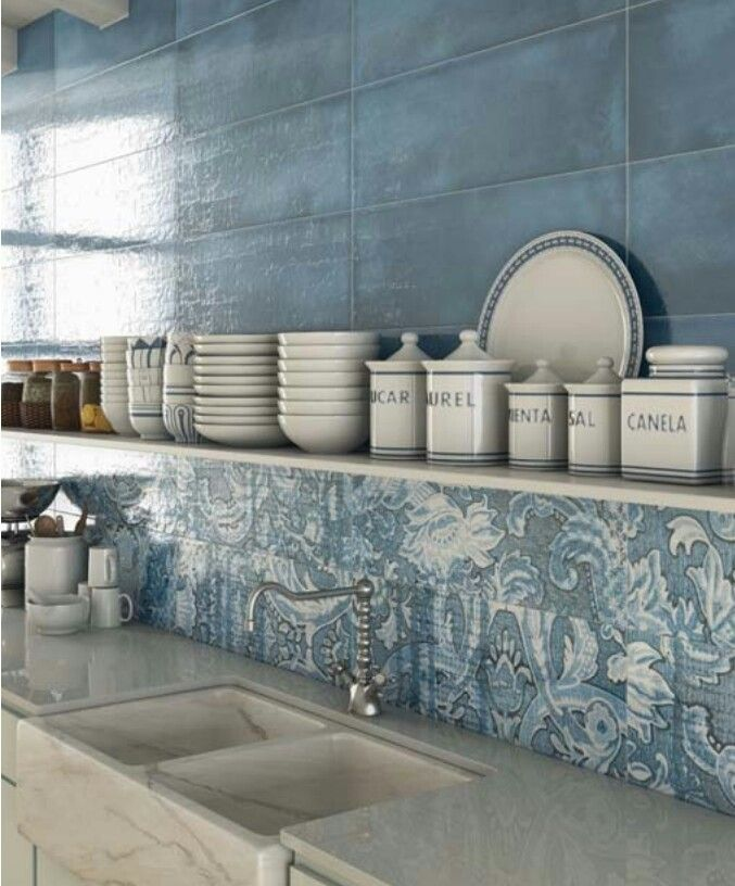 I love blue and white together for a tile feature.