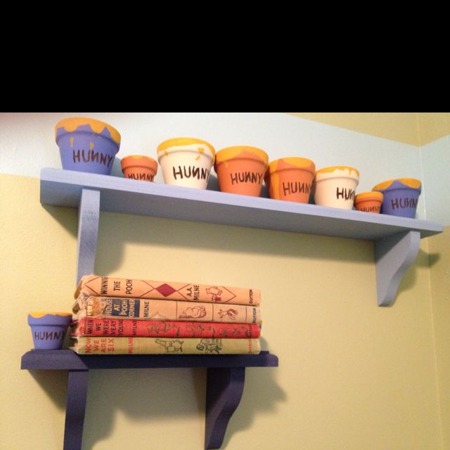 "Classic Pooh nursery - I can make the ""Hunny Pots"" but I WANT those books!!"