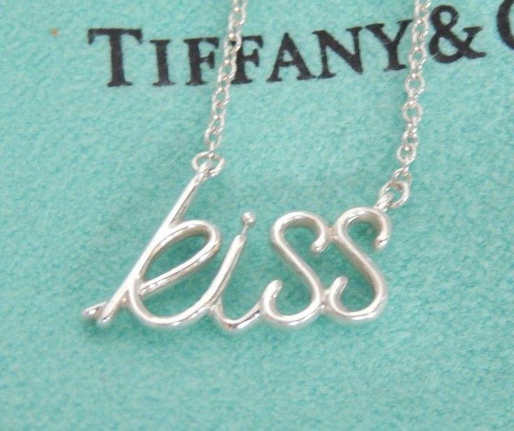 Tiffany & Co Paloma Picasso Silver Kiss Script Word Pendant Chain Necklace Mint! #TiffanyCo #Pendant