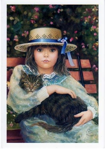 Chantal Poulin-Hat and Cat. Limited Edition Print (Canvas, Giclee)
