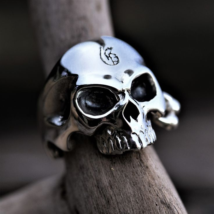 """Solid Sterling Silver Skull Ring """"Guillaume collection"""" by Onyx Jewelry Boutique⚜️"""
