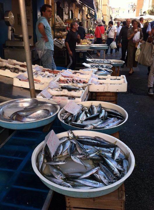 Fish stand at the Mercatino di Antignano, Naples. Vomero Food Tour by eatinitalyfoodtours