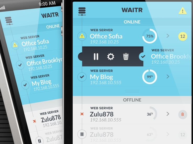 Waitr - Swipe to edit server by Angel Bartolli