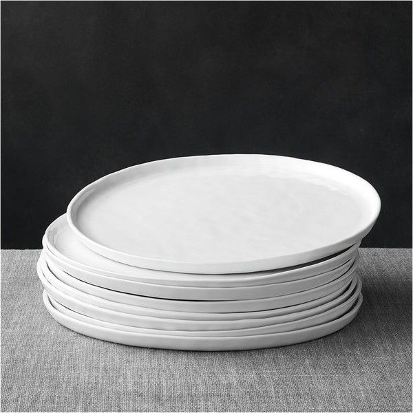 Crate & Barrel Set of 8 Mercer Dinner Plates ($45) ❤ liked on Polyvore featuring home, kitchen & dining, dinnerware, porcelain dinner plates, crate and barrel dinner plates, porcelain dinnerware, crate and barrel and crate and barrel dinnerware