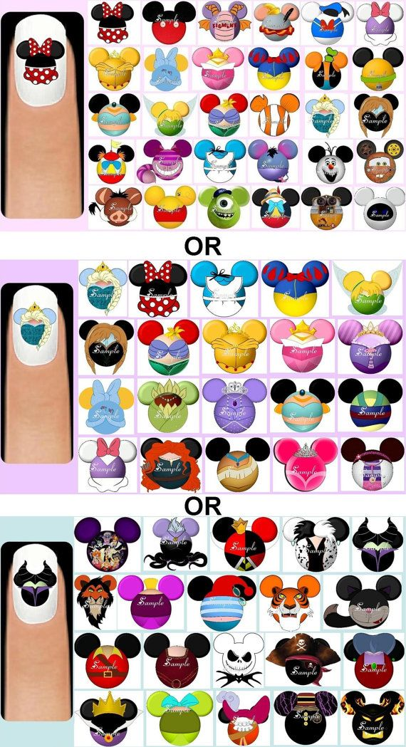 60x Various Characters OR Disney Princesses OR Villains Mickey Mouse Head Silhouettes Inspired Nail Art Decals Decal + Free Gift Frozen Olaf