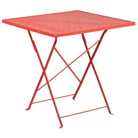 "Flash Furniture 28"" Square Indoor-Outdoor Steel Folding Patio Table, Multiple Colors Size: 28inchW x 28inchD"