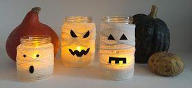 A Sunday morning with: Tutorial per realizzare dei barattoli luminosi fai da te a forma di mummia da utilizzare come centrotavola per la festa di Halloween.