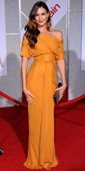 Odette Yustman  WHAT SHE WORE  The actress walked the red carpet at the premiere of You Again in a draped J. Mendel gown from the designer's resort collection and citrine Neil Lane jewelry.