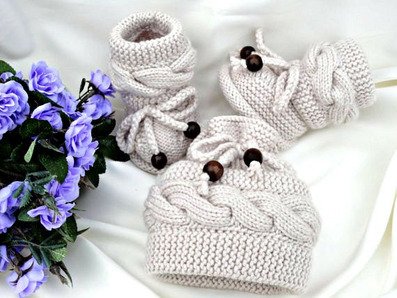 P A T T E R N Knitting Baby Set Baby Shoes Knitted Baby Hat Pattern Baby Booties…