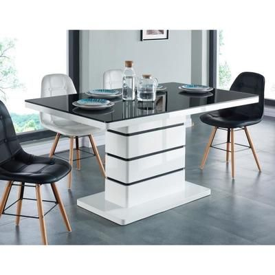 3f52e4e66fd LUCIA Table à manger 6 pesonnes 150x90 cm - Noir et blanc - Achat   Vente