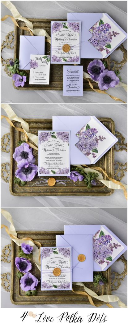Lilac wedding invitation – completely customizable and fully assembled 4lovepolkadots #sponsored
