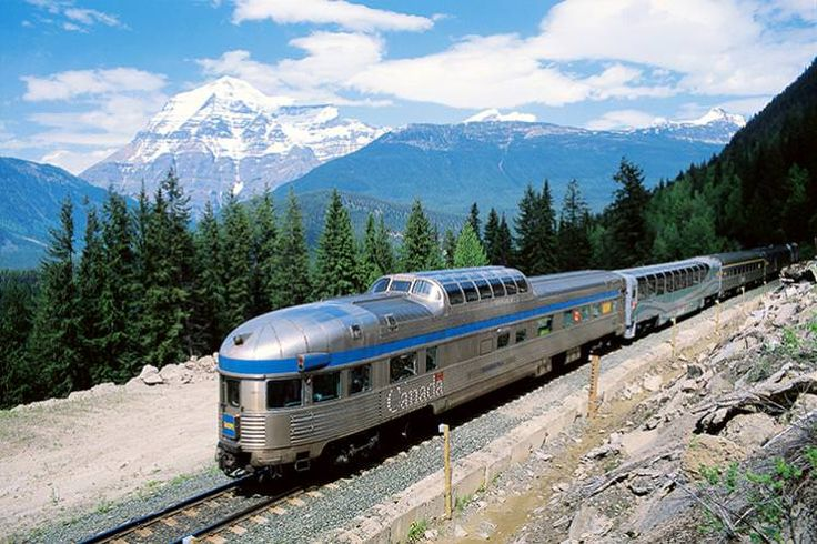 The Canadian traveling through the Rockies. Image courtesy of VIA Rail