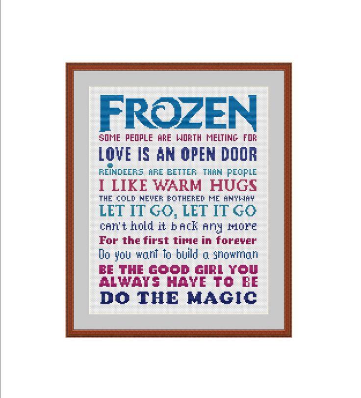 Frozen cross stitch pattern, Elsa, Let it go, I like warm hugs, Love is an open door, Cross-stitch pattern, Cross stitch chart, Xstitch, PDF by StitcheryStitch on Etsy