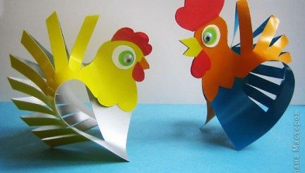 Gallo y gallina de papel