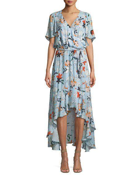 b062d7a9e8a7b Parker Demi Floral-Print Silk High-Low Wrap Dress | Monika and Vince ...