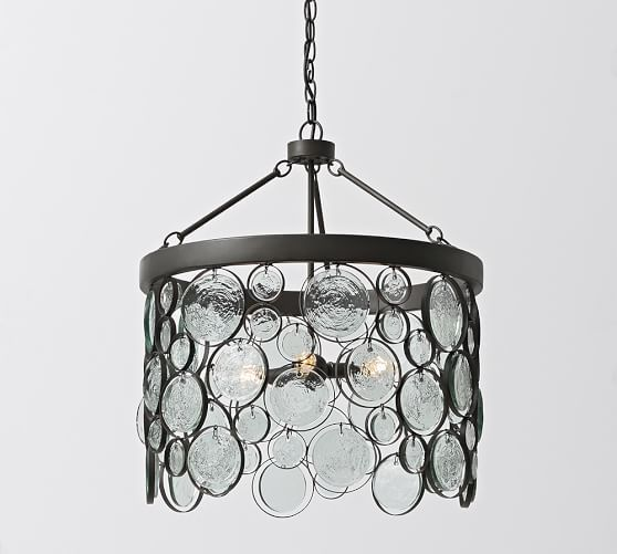 Pottery Barn Bronze Chandelier: Pottery Barn Emery Indoor/Outdoor Recycled Glass