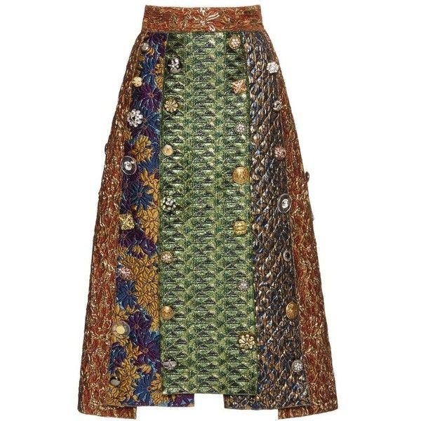 Mixed Media Midi Skirt | Moda Operandi ❤ liked on Polyvore featuring skirts, high-waist skirt, mid calf skirts, green skirt, green midi skirt and knee length a line skirt