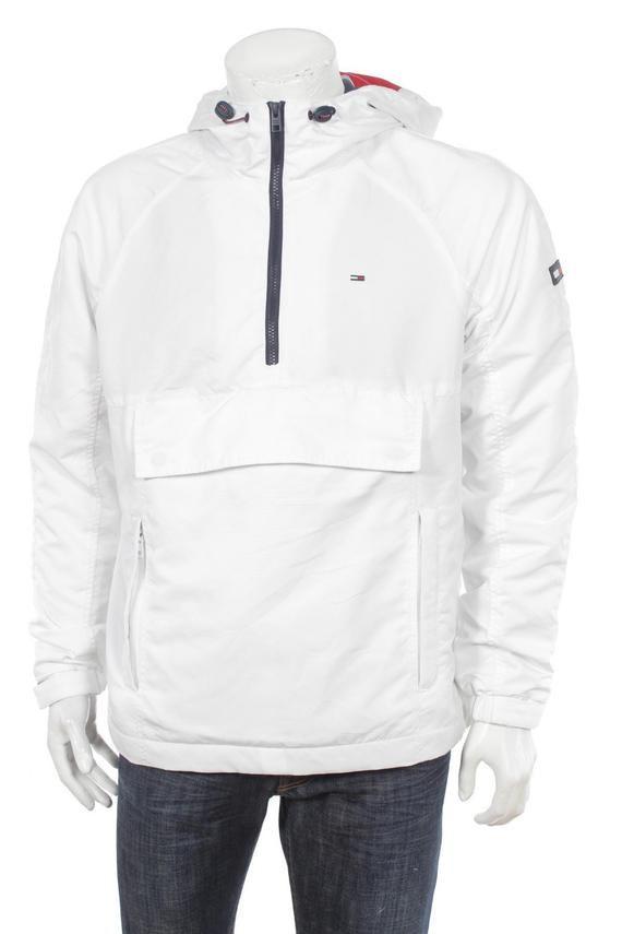 47f7d8fd36b59 Tommy Hilfiger Men's Pullover Cagoule Jacket, Icon Stripe Flag Logo White  Size M
