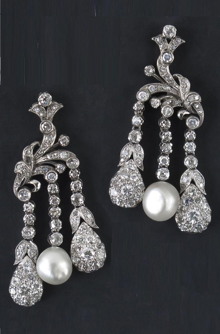 Vintage pearl drop gold earrings bocheron pearl earrings gold - A Pair Of Art Deco White Gold Diamond And Natural Pearl Earrings Italian