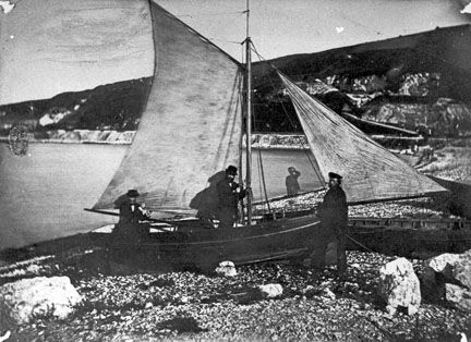 Dr Holden in his sailing boat at Glenarm, Co Antrim c.1870