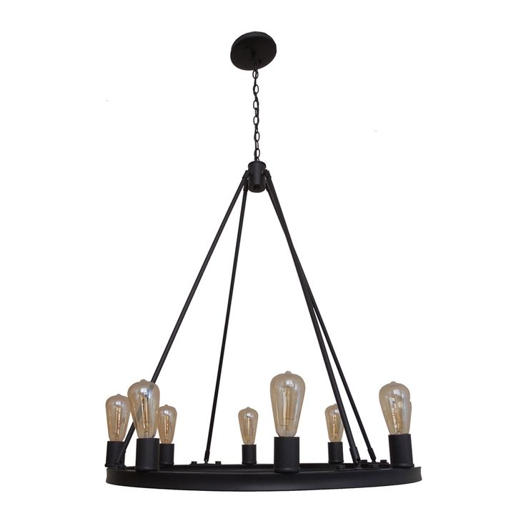 Whitfield Lighting Gino 30-in 8-Light Ebony bronze Industrial Candle Chandelier