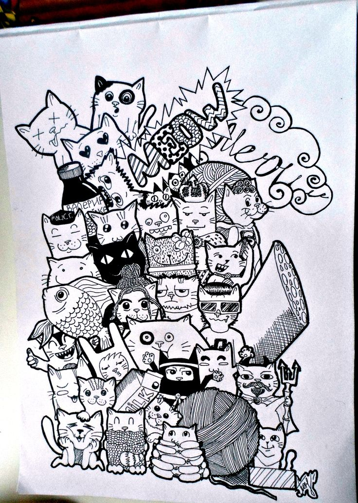 Doodle 39 39 cats 39 39 by natalia pokrovskaya art doodle draw for How to draw doodles