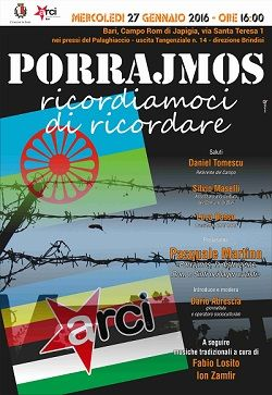 A Bari incontro per ricordare lo sterminio dei rom e sinti nei Lager nazisti