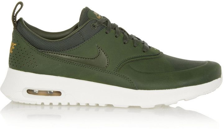 A army green sneaker - these trainers are unique, so hard to find stylish sneakers in the right shade of green these Nike Air Max Thea Premium Leather Sneakers will fit right in your wardrobe.
