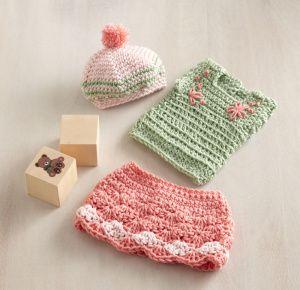 Free Crochet Pattern: Olivia Doll Outfit: Skirt, Top & Hat Lion Brand® Martha Stewart CraftsTM/MC Extra Soft Wool Blend Pattern #: L10641