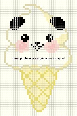 Kawaii Panda Ice Cream Cone - free cross stitch or hama bead chart