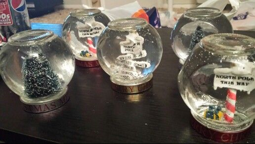Homemade snow globes. Check out Glitter Globes on Facebook.