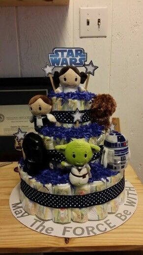 Star wars themed diaper cake #starwars #starwarsbaby