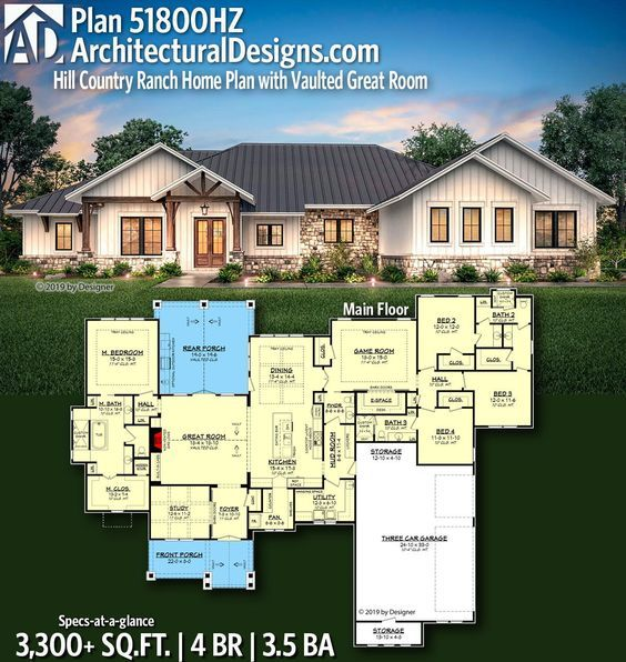Plan 51800HZ: Hill Country Ranch Home Plan with Vaulted Great Room